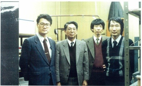 "2. The ""Gang of Four"" responsible for stoking the fever of interest in copper-oxide superconductivity. From left: Kitazawa, Tanaka, Uchida, and Takagi. (1986)"